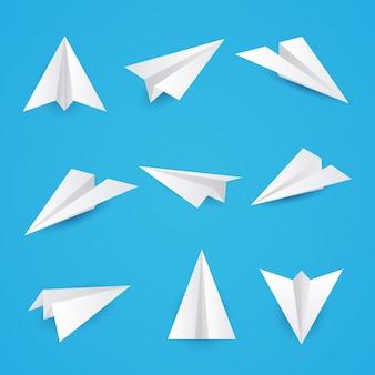 Définissez une simple icône d'avions en papier. illustration.