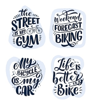 Définissez des slogans de lettrage sur le vélo pour la conception d'affiche, d'impression et de t-shirt. enregistrez les citations de la nature.