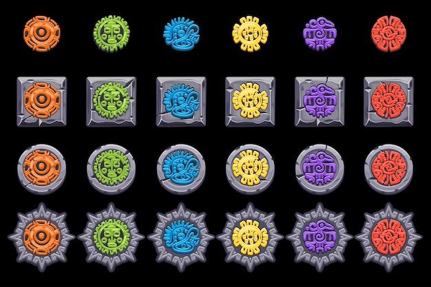 Définissez les symboles de la mythologie mexicaine antique. aztèque américain, totem indigène de la culture maya. icônes.
