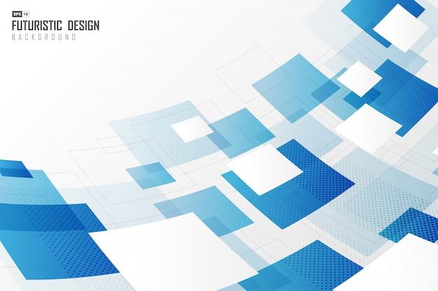 Déformation abstraite du fond de couverture de conception graphique de technologie bleu carré et blanc.