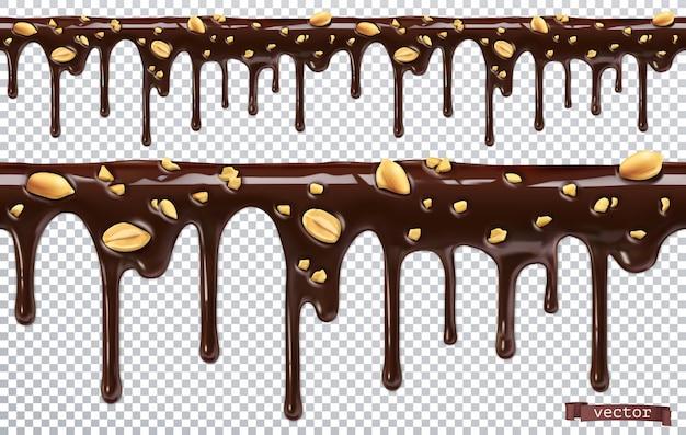 Dégoulinant de chocolat avec des noix d'arachide. faire fondre goutte à goutte. 3d réaliste, modèle sans couture