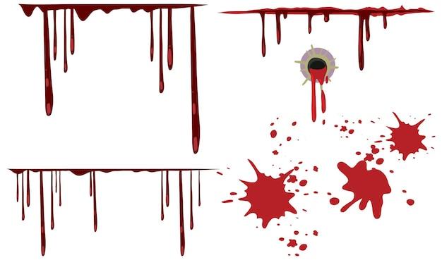 Dégoulinant de sang sur fond blanc