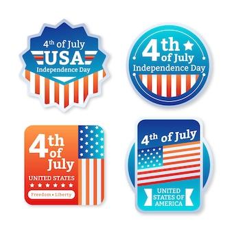 Dégradé 4 juillet - collection d'étiquettes de la fête de l'indépendance