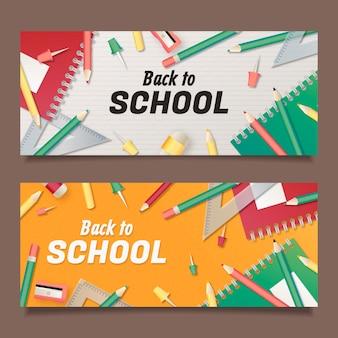 Dégradé de bannières de retour à l'école avec photo