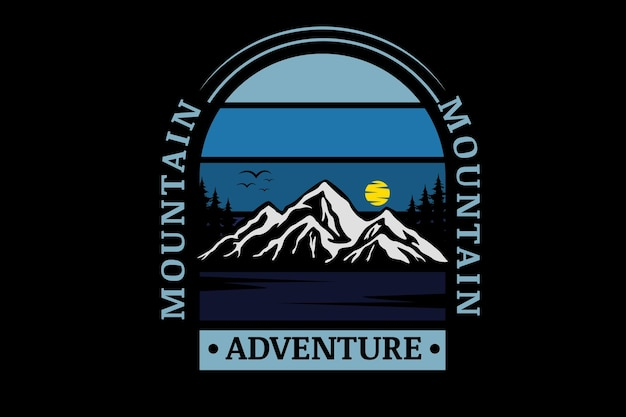 Dégradé bleu de couleur d'aventure de montagne