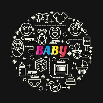 Dégradé coloré bébé avec jeu d'icônes de ligne