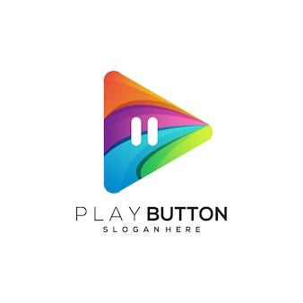 Dégradé coloré de bouton de lecture d'illustration de logo