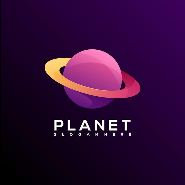 Dégradé coloré de logo de planète génial
