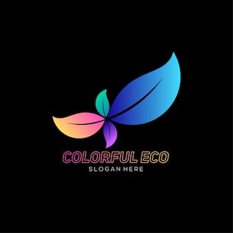 Dégradé de conception colorée de logo eco feuille