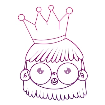 Dégradé contour fille tête portant des lunettes avec couronne et coiffure