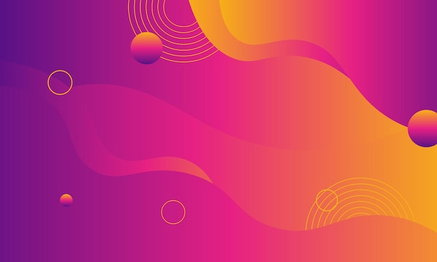 Dégradé fluide abstrait rose violet et jaune avec cercle