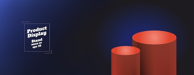 Dégradé de fond bleu clair à bleu marine avec support de kiosque rond orange rouge