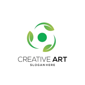 Dégradé moderne coloré de logo de feuille verte