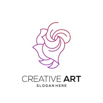 Dégradé moderne coloré de logo de fleur