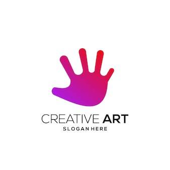 Dégradé moderne coloré de logo de main