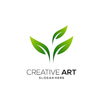 Dégradé moderne coloré de logo vert feuille