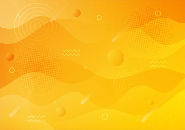 Dégradé moderne jaune style memphis abstrait avec fond géométrique.