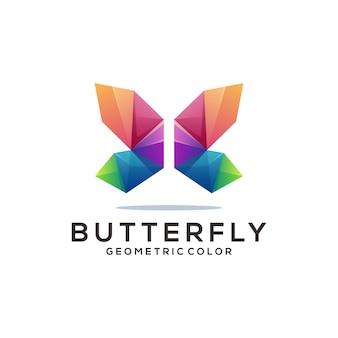 Dégradé origami géométrique coloré logo papillon