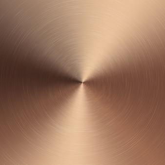Dégradé radial métallique bronze avec rayures. effet de texture de surface de feuille de bronze.