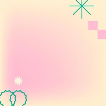 Dégradé de vecteur abstrait fond rose memphis avec des formes géométriques