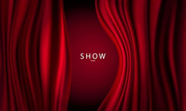 Dégradés abstraits, arrière-plan du modèle de bannière tissu vagues rouges.