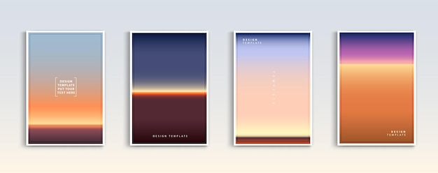 Dégradés modernes d'été coucher de soleil et lever de soleil mer arrière-plans vector set abstrait de couleur