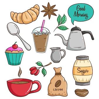 Déjeuner de café coloré avec petit gâteau en utilisant le style doodle
