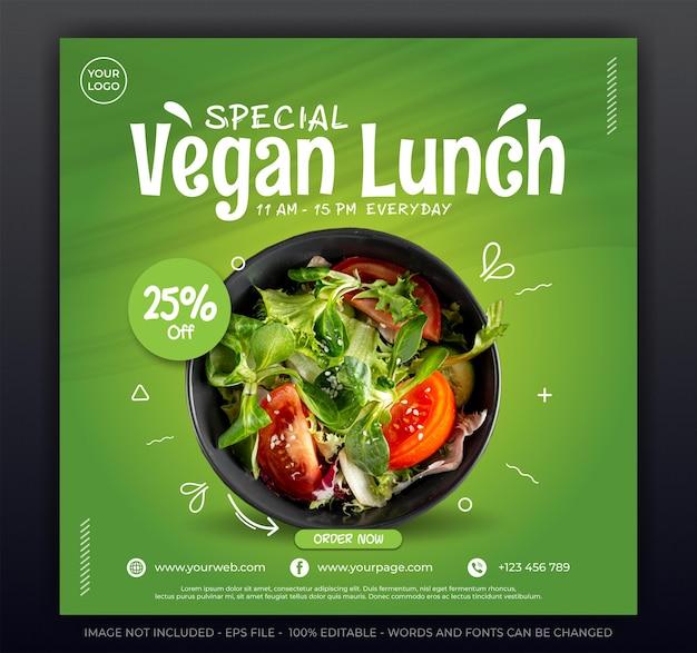 Déjeuner végétalien, modèle de bannière de publication de médias sociaux de promotion de salade