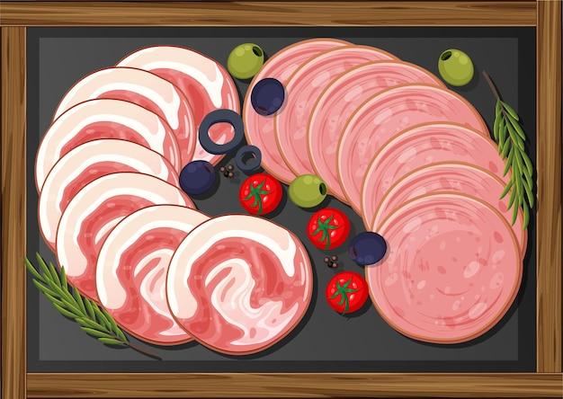 Déjeuner de viandes avec différentes viandes froides sur plateau