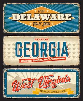 Le delaware, la géorgie et la virginie-occidentale indiquent de vieilles plaques de métal. régions des états-unis d'amérique panneaux routiers minables, plaques rouillées ou panneaux rétro avec des étoiles et des rayures