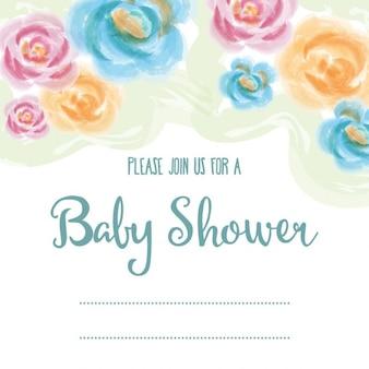Délicate carte de douche de bébé avec des fleurs à l'aquarelle
