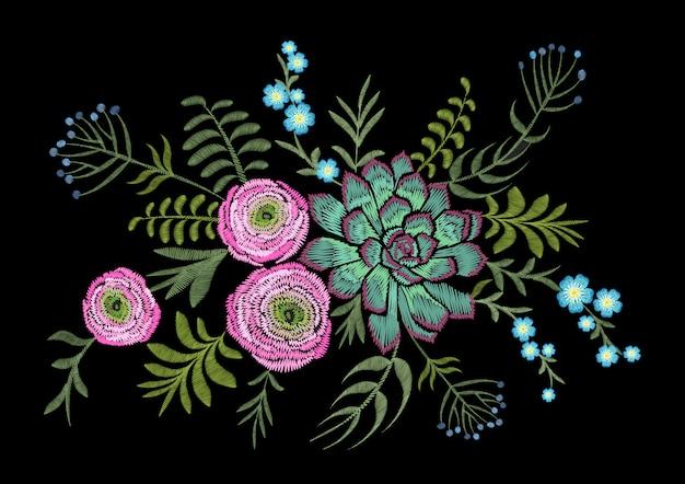 Délicate fleur de champ d'herbes succulentes rose ranunculus.