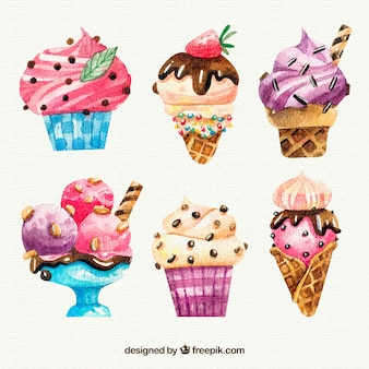 Délicieuse collection de glaces à l'aquarelle