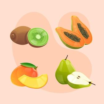 Délicieuse collection détaillée de fruits
