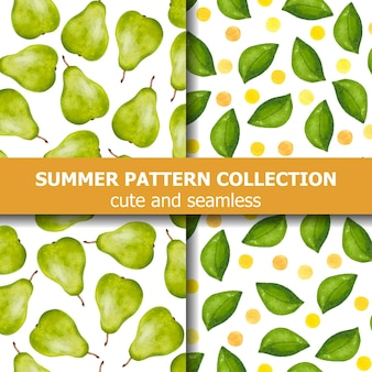 Délicieuse collection de motifs d'été avec des poires et des points à l'aquarelle. bannière d'été. vecteur