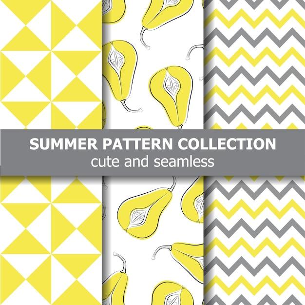 Délicieuse collection de motifs d'été. thème poires.