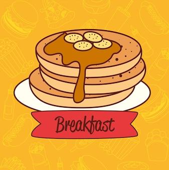 Délicieuse crêpe au sirop, concept de petit déjeuner