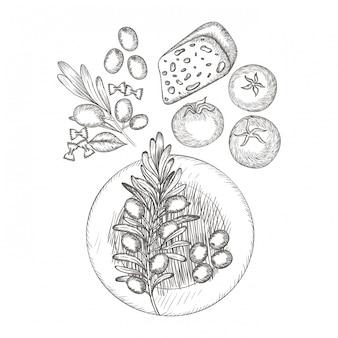 Délicieuse cuisine italienne en dessin
