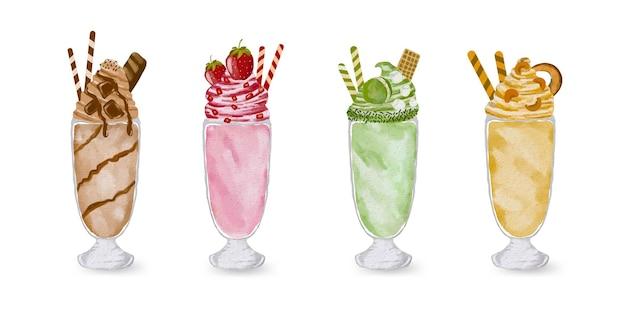 Délicieuse illustration de collection de milk-shakes aquarelle peinte à la main