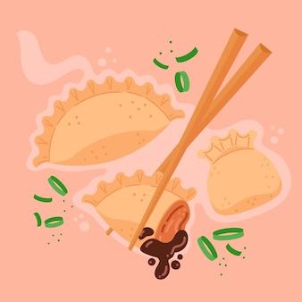 Délicieuse nourriture de gyozas japonais au design plat