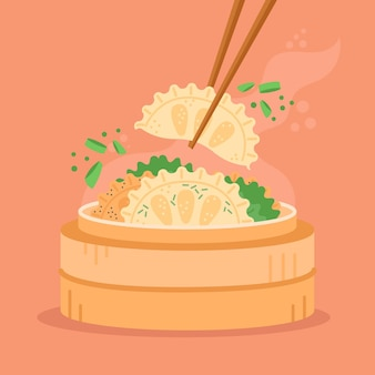 Délicieuse nourriture traditionnelle de gyozas au design plat