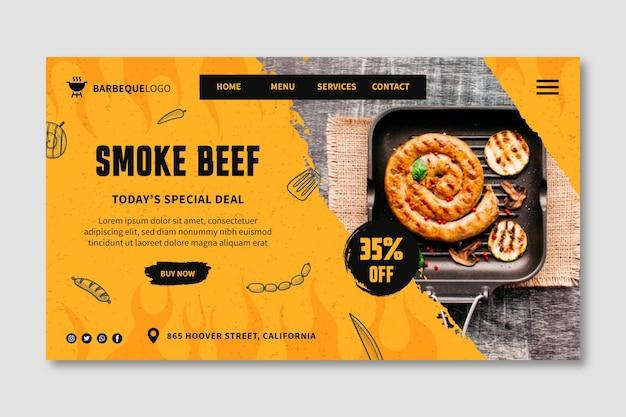 Délicieuse page de destination de barbecue