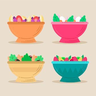 Délicieuse salade de fruits dans des bols colorés