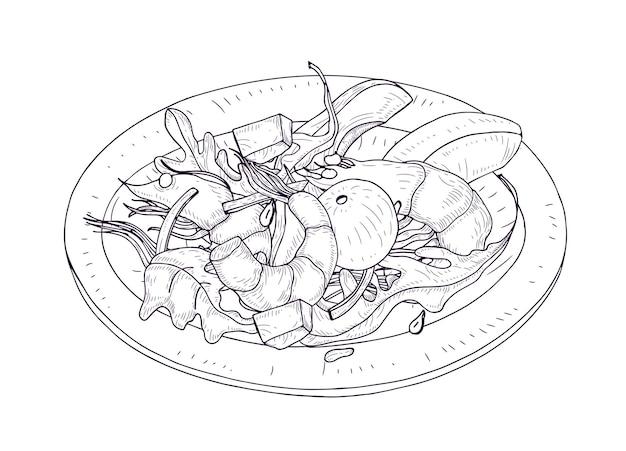 Délicieuse salade de fruits de mer et de légumes sur une assiette dessinée à la main avec des lignes de contour sur fond blanc. repas sain à base de crevettes, avocat, feuilles de laitue. illustration vectorielle réaliste.
