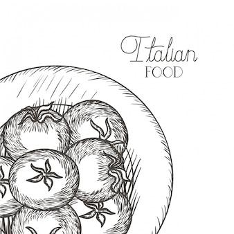 Délicieuse tomate en dessin icône isolé