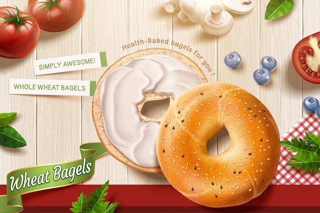 De délicieuses annonces de bagels de blé avec des garnitures à la crème sur fond de table en bois en illustration 3d