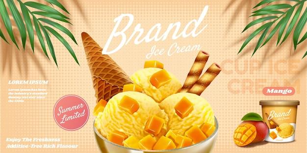 De délicieuses annonces de coupe de glace à la mangue avec un sundae aux fruits et un bâton de chocolat en illustration 3d