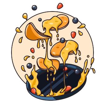 Délicieuses crêpes en lévitation sur assiette