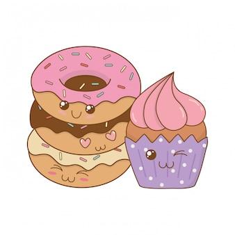 De délicieux beignets sucrés avec des personnages de cupcake kawaii