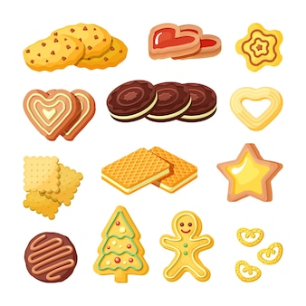Délicieux biscuits, ensemble plat de produits de boulangerie. collection de couleurs biscuits sucrés, gaufres et pain d'épice.